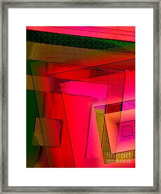 Pink And Green Geometric Art Framed Print by Mario Perez