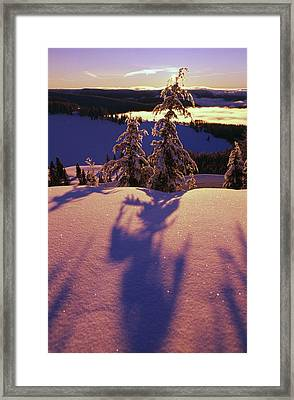 Pink And Purple Sunrise Shadows Of Snow Framed Print by Natural Selection Craig Tuttle