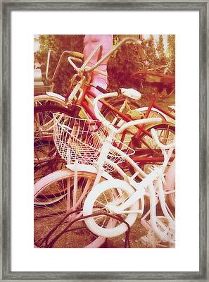 Vintage Girls Bikes Framed Print by Toni Hopper
