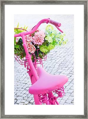 Pink Bicycle Framed Print by Carlos Caetano