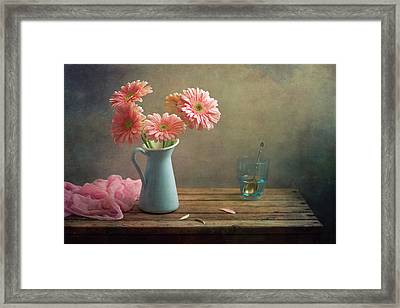 Pink Gerberas In Blue Pitcher Jug Framed Print by Copyright Anna Nemoy(Xaomena)