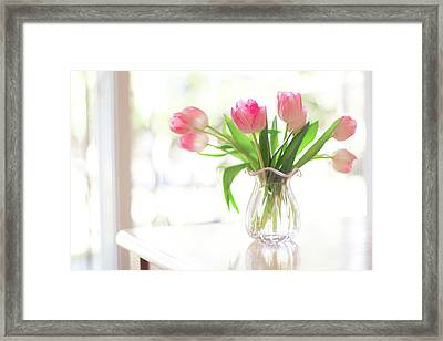 Pink Glass Vase Of Pink Tulips In Window Framed Print by Jessica Holden Photography