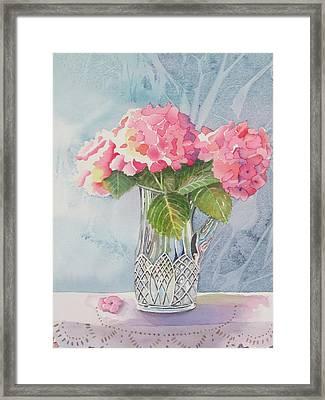 Pink Hydrangias Framed Print by Jeanne Hall