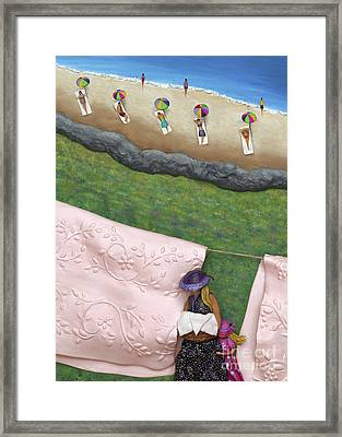 Pink Linen- Crop-to See Full Image Click View All Framed Print by Anne Klar
