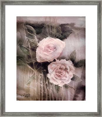 Pink Roses Framed Print by Arline Wagner