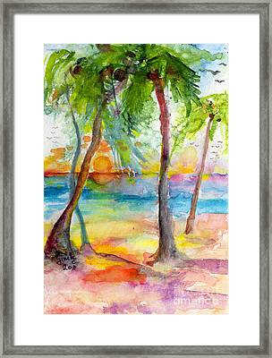 Pink Sands And Palms Island Dreams Watercolor Framed Print by Ginette Callaway