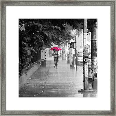 Pink Umbrella Framed Print by Andrew Fare