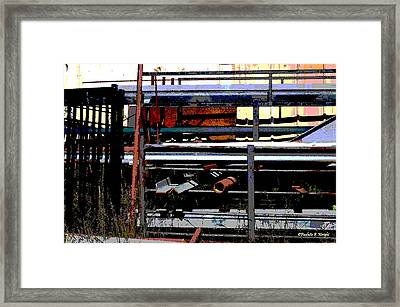 Pipes And Angle Iron Framed Print by Paulette B Wright