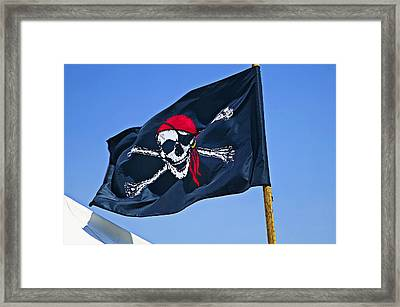 Pirate Flag Skull With Red Scarf Framed Print by Garry Gay