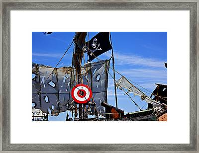 Pirate Ship With Target Framed Print by Garry Gay