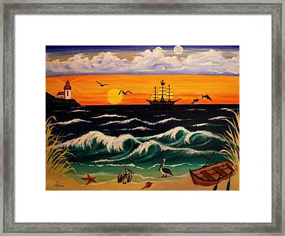 Pirate's Cove Framed Print by Adele Moscaritolo