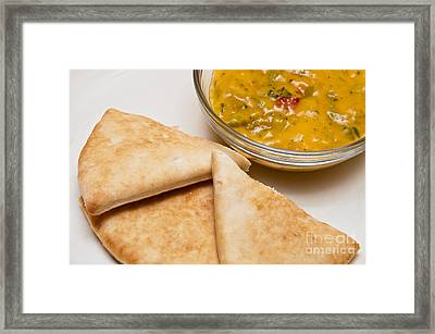 Pita Bread With Brocoli Cheese Dip Framed Print by Andee Design