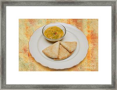 Pita With Brocoli Dip Framed Print by Andee Design