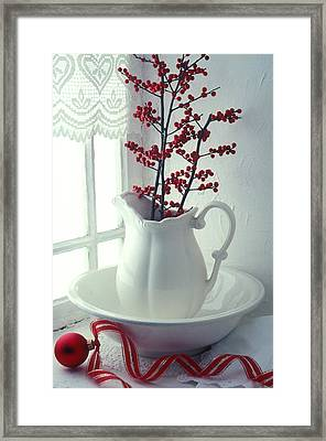 Pitcher With Red Berries  Framed Print by Garry Gay