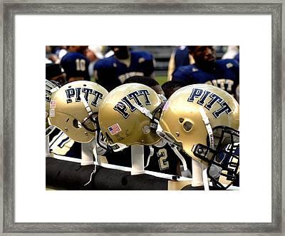 Pitt Helmets Awaiting Action Framed Print by Will Babin
