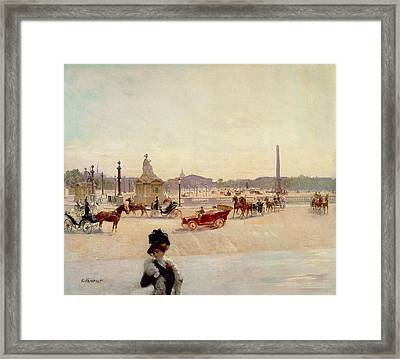 Place De La Concorde - Paris  Framed Print by Georges Fraipont