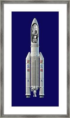 Planck And Herschel Rocket, Artwork Framed Print by David Ducros