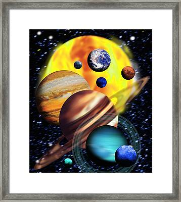 Planets & Their Relative Sizes Framed Print by Victor Habbick Visions