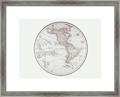 Planispheric Map Of The Western Hemisphere Framed Print by Fototeca Storica Nazionale