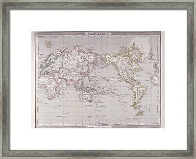 Planispheric Map Of The World Framed Print by Fototeca Storica Nazionale