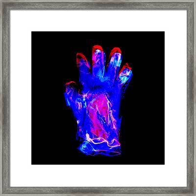 Plastic Glove, Negative Image Framed Print by Kevin Curtis