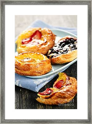 Plate Of Fruit Danishes Framed Print by Elena Elisseeva