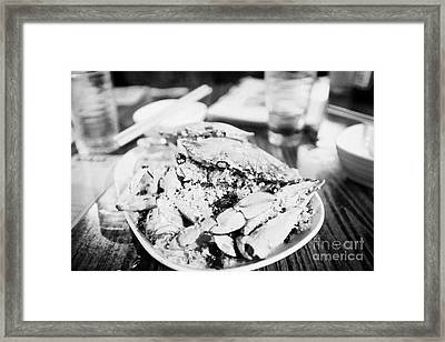 Plate Of Spicy Crab Seafood At A Table In An Outdoor Cafe At Night Kowloon Hong Kong Hksar China Framed Print by Joe Fox