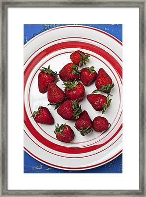 Plate Of Strawberries Framed Print by Garry Gay