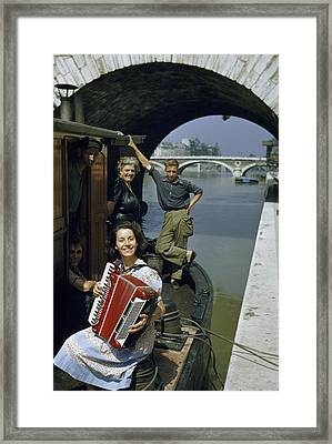 Playing And Listening To An Accordion Framed Print by Justin Locke