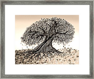 Playing In The Falling Leafs Framed Print by Nick Gustafson