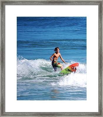 Playing In The Surf Framed Print by David Lane