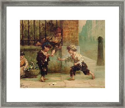 Playing With A Top Framed Print by Albert Snr Ludovici