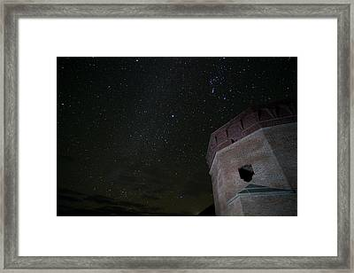 Pleiades Over Fort Jackson In Florida Keys Framed Print by Andres Leon