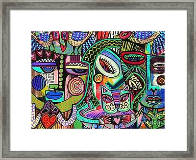 -plump Pink Aztec Kitty And Birds Framed Print by Sandra Silberzweig