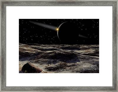 Pluto Seen From The Surface Framed Print by Ron Miller