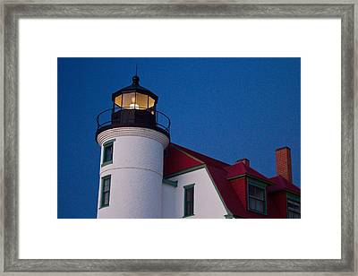 Point Betsie Lighthouse At Dusk Framed Print by Twenty Two North Photography