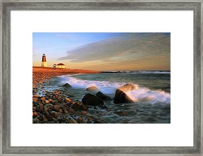 Point Judith Lighthouse Seascape Framed Print by Roupen  Baker