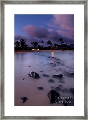 Poipu Evening Storm Framed Print by Mike  Dawson