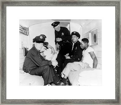 Policemen And Wounded African American Framed Print by Everett
