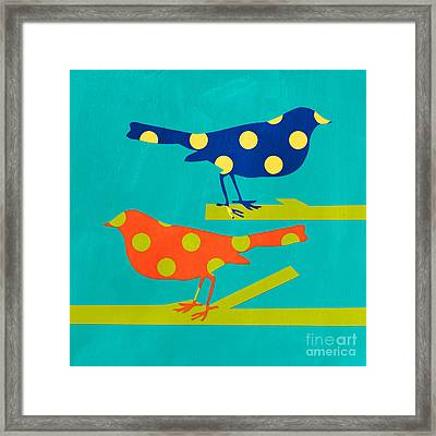 Polka Dot Birds Framed Print by Linda Woods