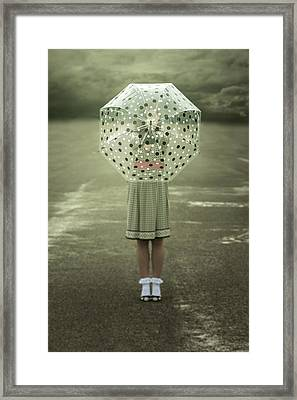 Polka Dotted Umbrella Framed Print by Joana Kruse