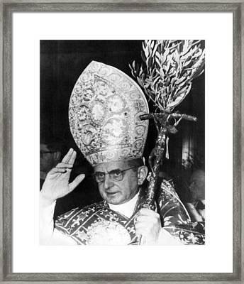 Pope Paul Vi, Blessing Crowd In St Framed Print by Everett