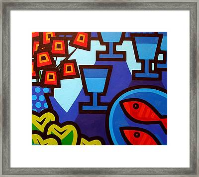 Poppies Apples Wine And Fish Framed Print by John  Nolan