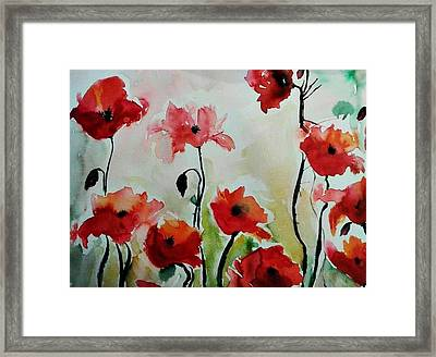 Poppies Meadow - Abstract Framed Print by Ismeta Gruenwald