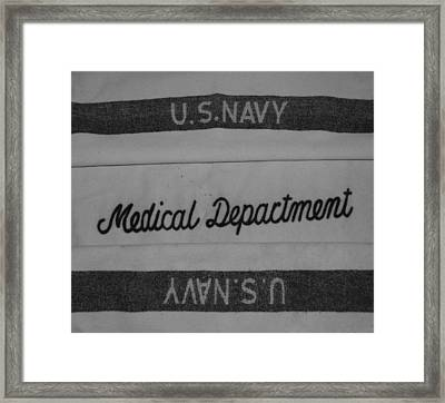 Pop's W W I I Navy Blanket In Black And White Framed Print by Rob Hans