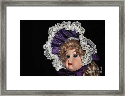 Porcelain Doll - Head And Bonnet Framed Print by Kaye Menner