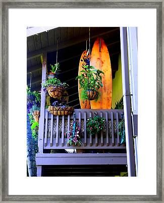 Porch Surf Framed Print by Sharon Farris