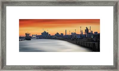 Port Of Hamburg Framed Print by Marc Huebner