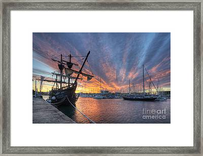 Port Vell Sunrise - Barcelona Framed Print by Yhun Suarez