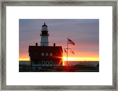 Portland Head Light At Sunrise Framed Print by Rick  Blood